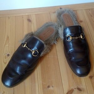 Men's Gucci Horsebit Lamb Fur Lined Princetown